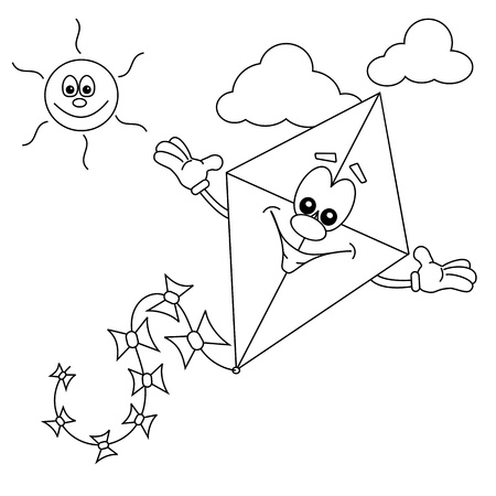 Cartoon kite outline for colouring in book Ilustração