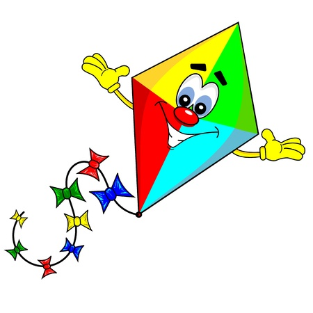 flying a kite: A cartoon kite with smiling face on white background