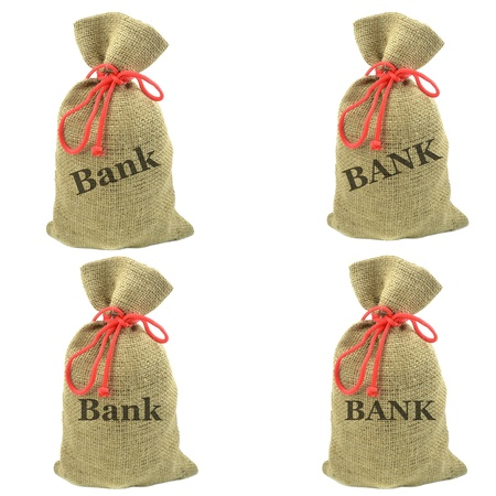 Selection of isolated sacks with the word bank photo
