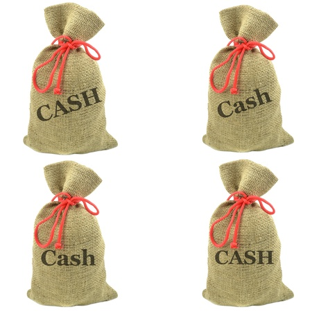 Selection of isolated sacks with the word cash photo