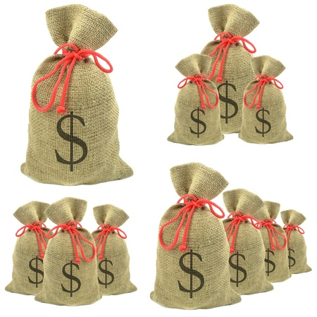 Bags of money with dollar currency on a white background photo
