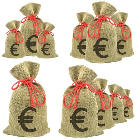 Bags of money with Euro currency on a white background photo