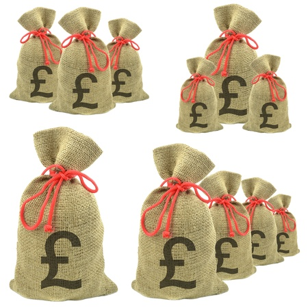 Bags of money with Pounds Sterling currency on a white background photo