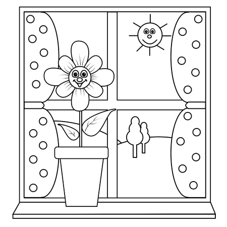 A flower next to a window for colouring in book Illustration