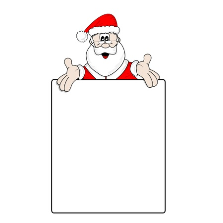 wish list: Santa Claus and a large blank wish list with copy space