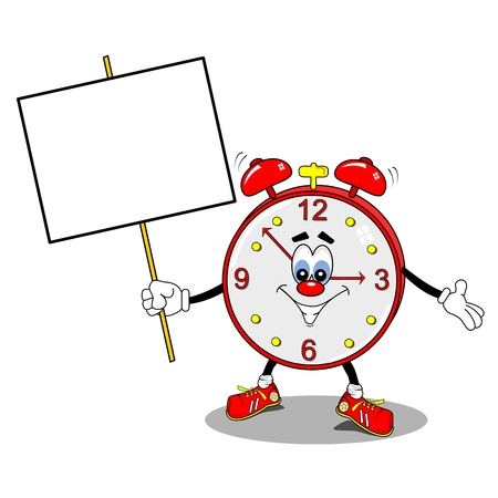 wake: A cartoon alarm clock holding a copy space placard Illustration