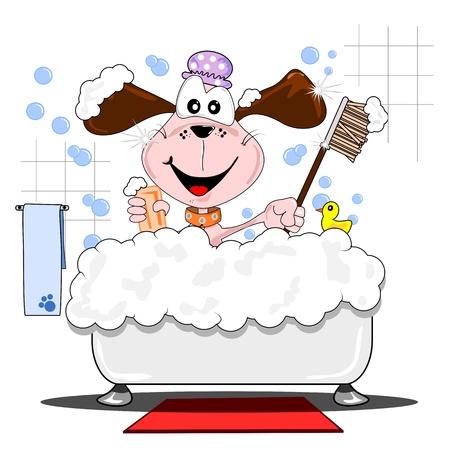 浴槽の中で泡風呂を持つ漫画の犬