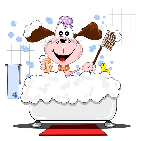 A cartoon dog having a bubble bath in the bathtub