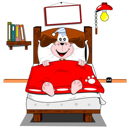 lying in bed: A cartoon dog lying in bed