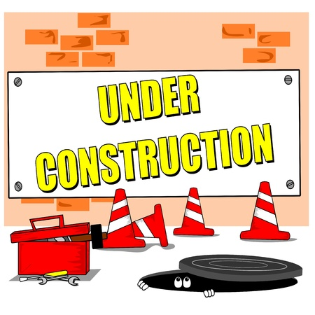 road work: A cartoon building site with under construction sign