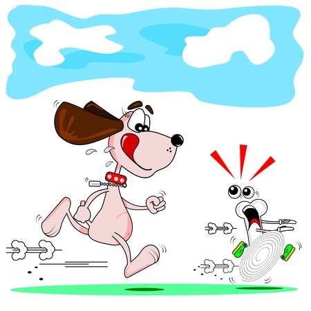 A cartoon dog running after a cartoon bone