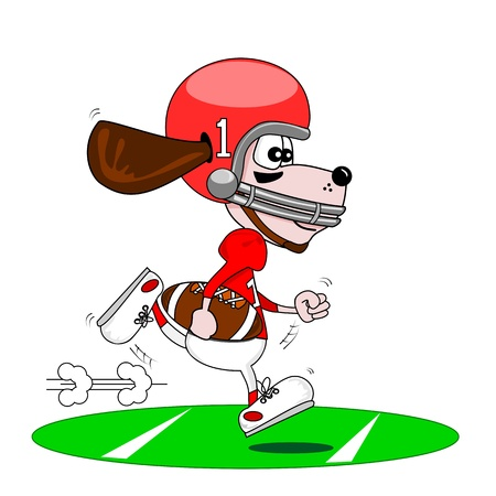 A cartoon dog playing American football Stock Vector - 14524010