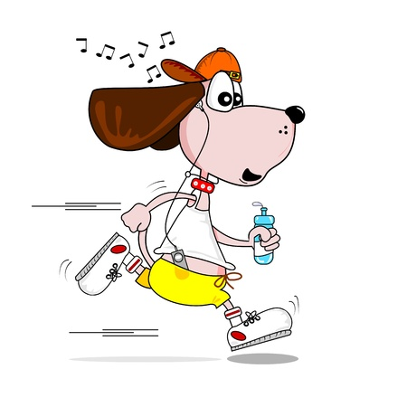 A cartoon dog keeping fit jogging to music