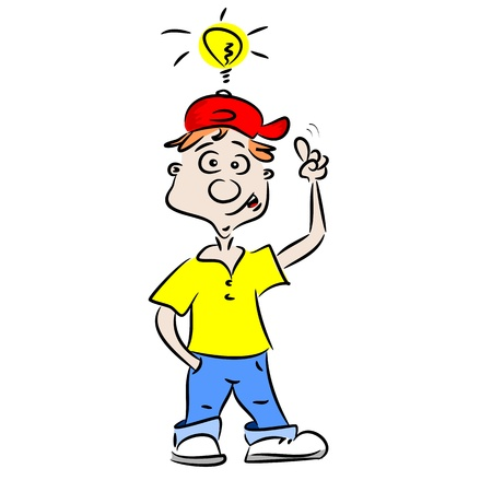 smart thinking: A cartoon boy with a good idea