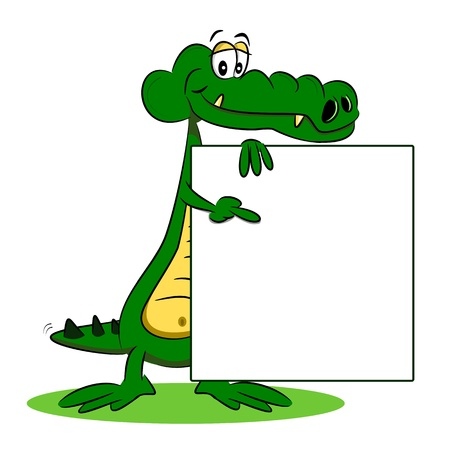 A cartoon crocodile holding a blank billboard sign Illustration