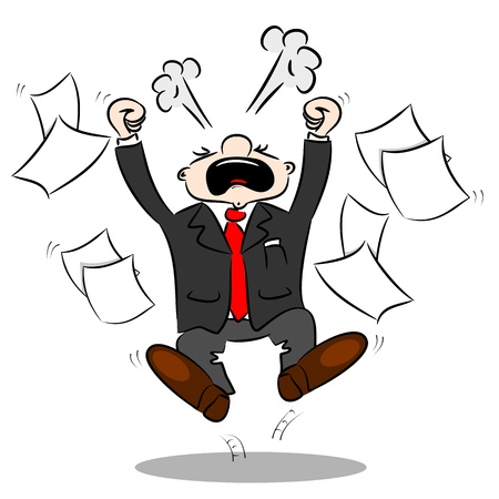 stressed businessman: An angry cartoon businessman with blank paper flying around Illustration