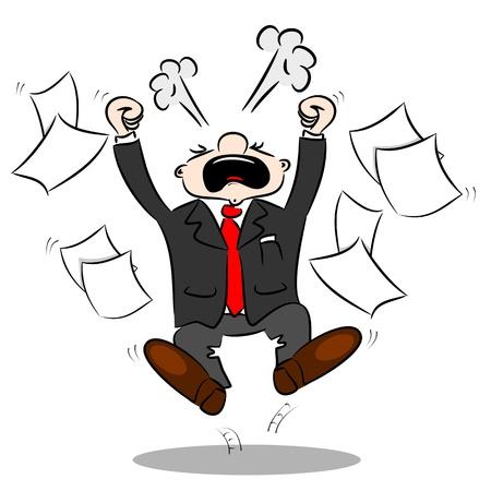 empresario: Un hombre de negocios de dibujos animados enojado con el papel en blanco volando