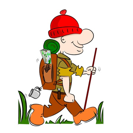 hike: A cartoon hiker rambler going camping with rucksack and stick