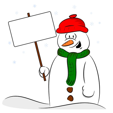 A cartoon snowman holding a sign post with copy space Ilustração