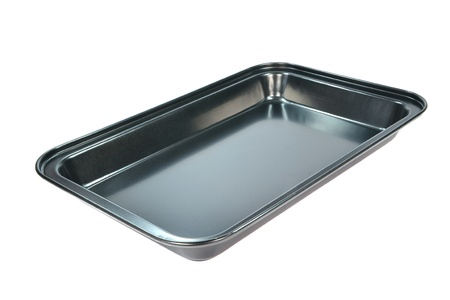 An clean empty baking tray on a white background photo