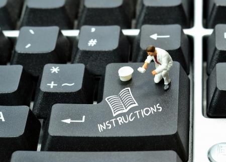 computer lesson: Instructions written on enter return key of keyboard