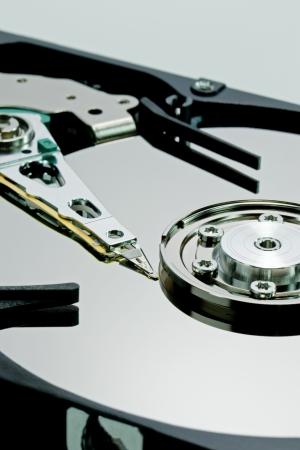 gigabytes: Close up of a computer hard disc drive