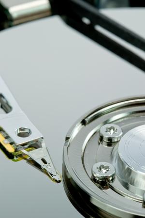 Close up of a computer hard disc drive photo