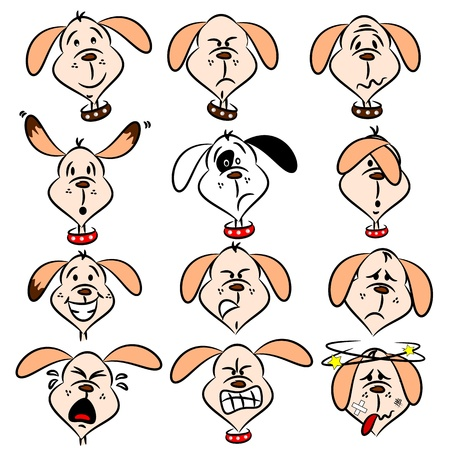 angry dog: Selection of cartoon dog faces with various expressions