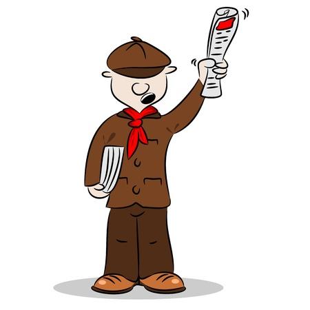vendedor: Un vendedor de periódicos dibujos animados vendiendo periódicos y gritando