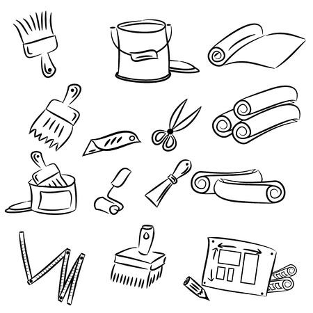 paint tin: cartoon drawings of DIY tools for decorating and renovating
