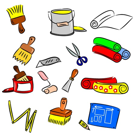 cartoon drawings of DIY tools for decorating and renovating Vector