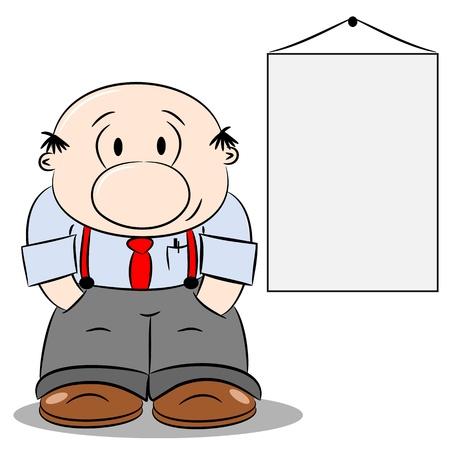 boss cartoon: A cartoon businessman next to a blank copy space notice board