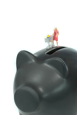 Female shopper pushing shopping trolley cart on piggy bank photo