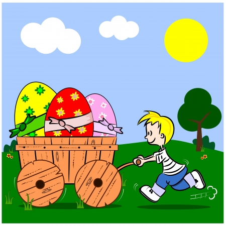 A cartoon boy pushing a wooden cart with Easter eggs Vector