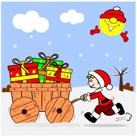 A cartoon boy pushing a wooden cart with Christmas gifts Vector