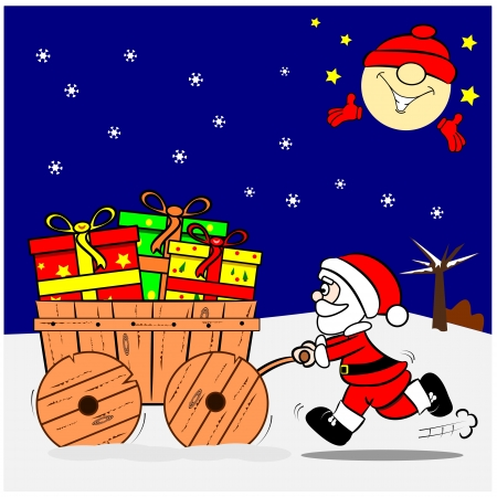 A cartoon Santa pushing a wooden cart with Christmas gifts Vector