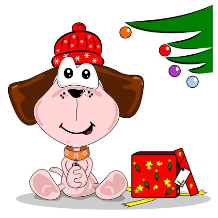Cartoon dog happy with woolly hat Christmas gift  Vector
