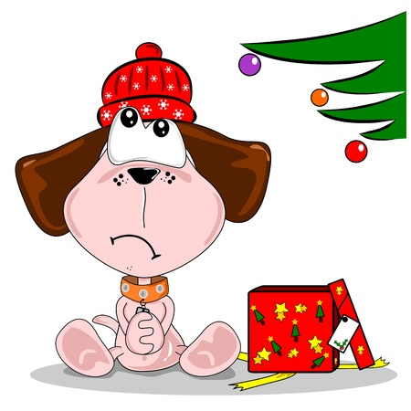 Cartoon dog disappointed with woolly hat Christmas gift