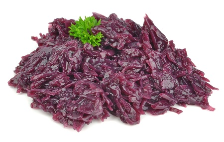 red cooked: A portion of cooked red cabbage on a white background Stock Photo