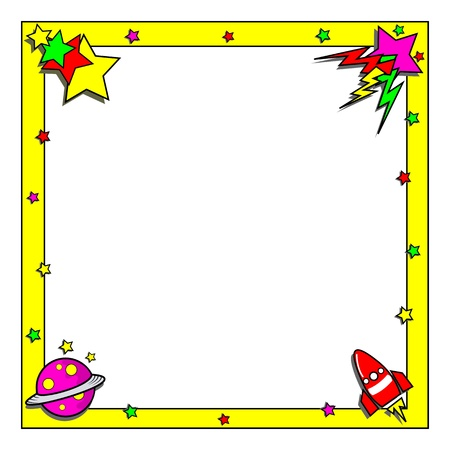 Cartoon outerspace border frame  Vector