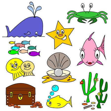 Selection of sea life clip art cartoons on a white background Vector