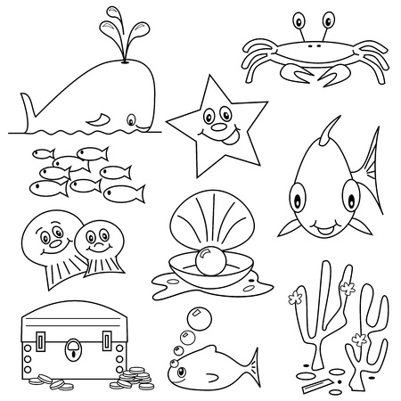 Selection of sea life clip art cartoons for colouring book Illustration