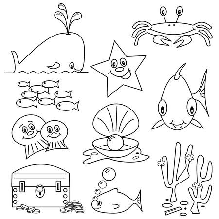 Selection of sea life clip art cartoons for colouring book Vector