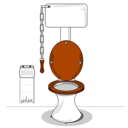 toilet bowl: A cartoon toilet with wooden seat and chain