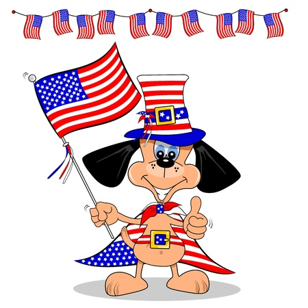 state election: A cartoon dog celebrating 4th of July with flag and bunting