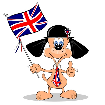 england: A cartoon dog with British Union Jack flag and tie