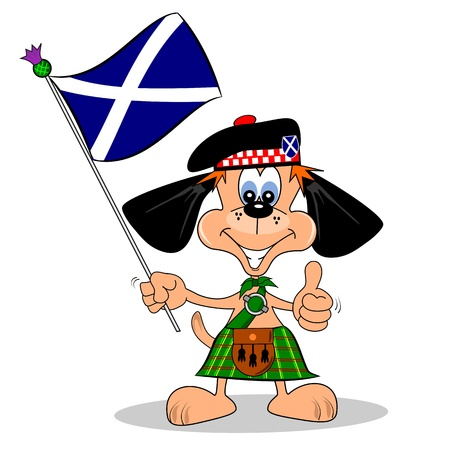 scottish flag: Un cane cartone animato in un kilt con la bandiera della Scozia