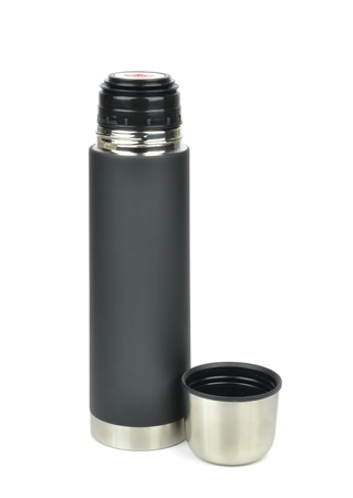 insulated drink container: An unbreakable thermos flask on a white background