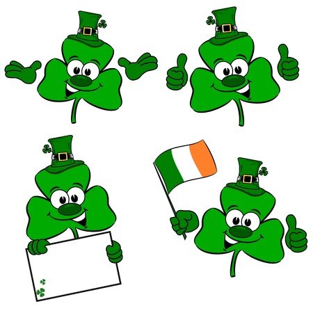 St Patrick s day cartoon clover collection Stock Vector - 18003047