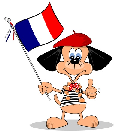 french flag:  A cartoon dog holding the French national flag